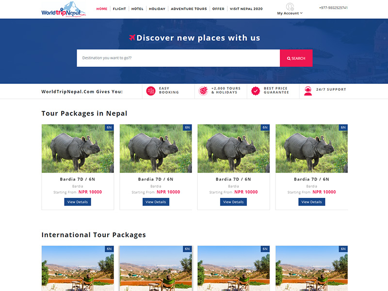 World Trip Nepal: Holiday Booking Website Design